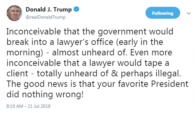 Trump broke his silence on Saturday and is not happy Cohen recorded their conversation about a payment to Playboy model KarenMcDougal