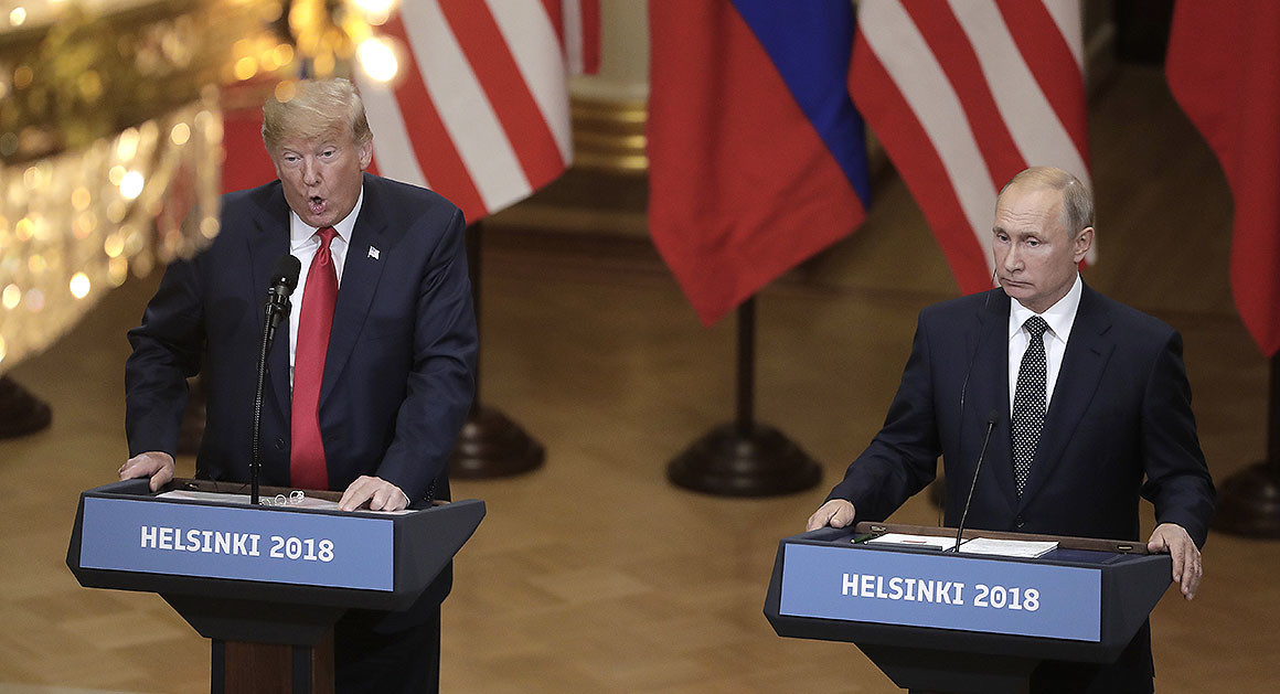 Donald Trump and Vladimir Putin are pictured.   AP Photo