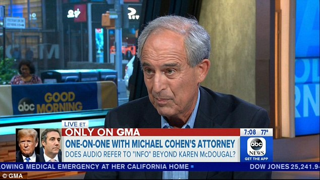 Cohen's attorney Lanny Davis, a longtime Bill and Hillary Clinton hand, said Wednesday that the feds have more audio from their Cohen raids