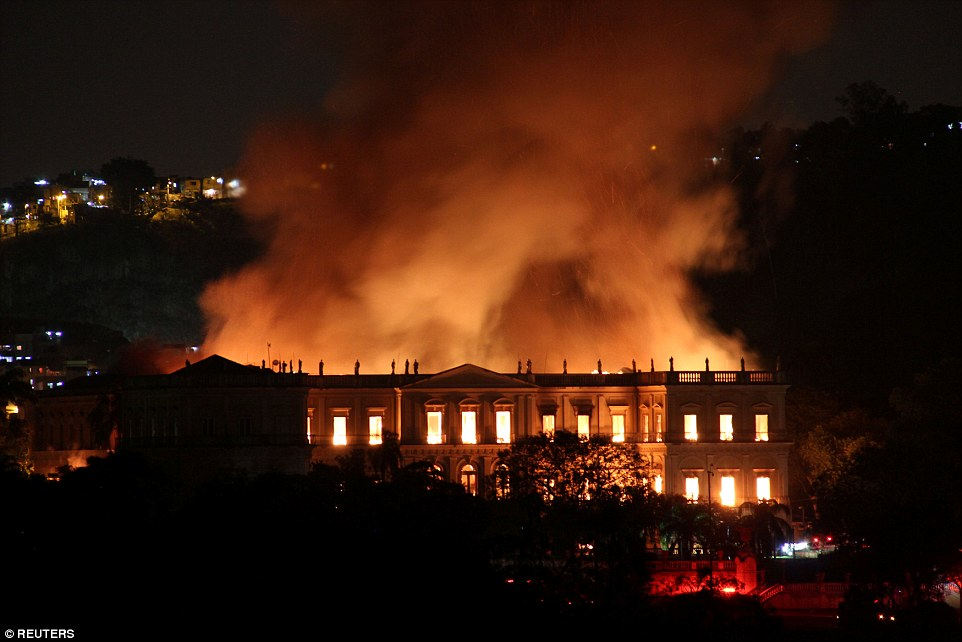 On Sunday evening the flames did not appear to be reducing in size as firefighters worked tirelessly to battle the fire