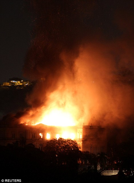 The fire began at 7.30pm local time and quickly spread throughout the building, and on Sunday evening the flames did not appear to be reducing