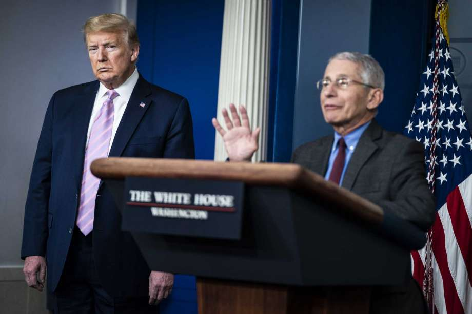 Director of the National Institute of Allergy and Infectious Diseases Anthony Fauci, right, and President Donald Trump are shown during a briefing on coronavirus at the White House on April 10, 2020 in Washington. Photo: Washington Post Photo By Jabin Botsford / The Washington Post